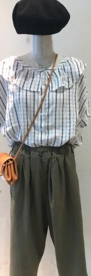 チェックの透け感が遊び心のある、フリルシャツのご紹介です✿/mumokuteki goods&wears ららぽーとTOKYO-BAY